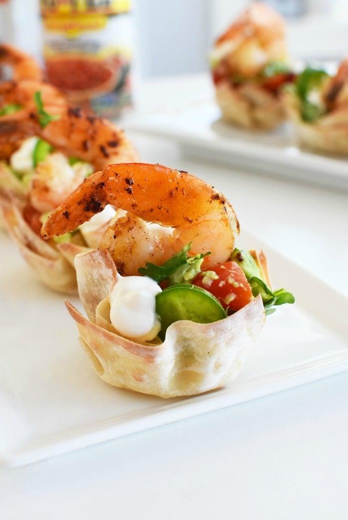 Shrimp ChimiChanga Cup on white plate.