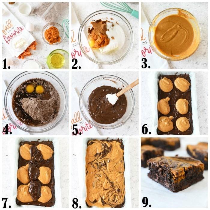 Making pumpkin brownies process imagery