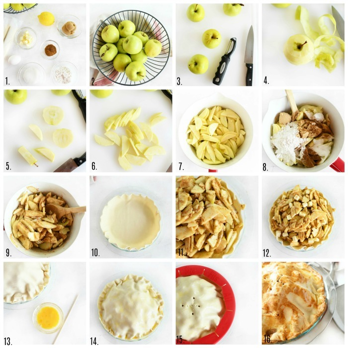 How to Make a semi homemade apple pie - a grid of the full process of making this pie.