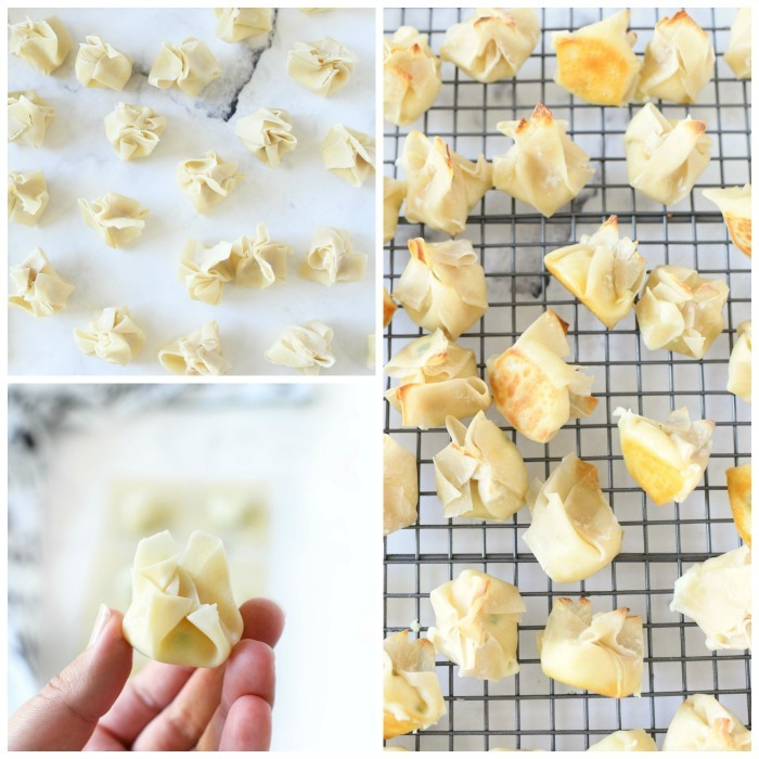 How to make and bake cream cheese wontons - a visual grid of them prebaked and baked on a white table and cooling rack.