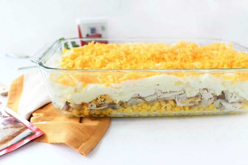Layered turkey casserole in a double deep Pyrex.