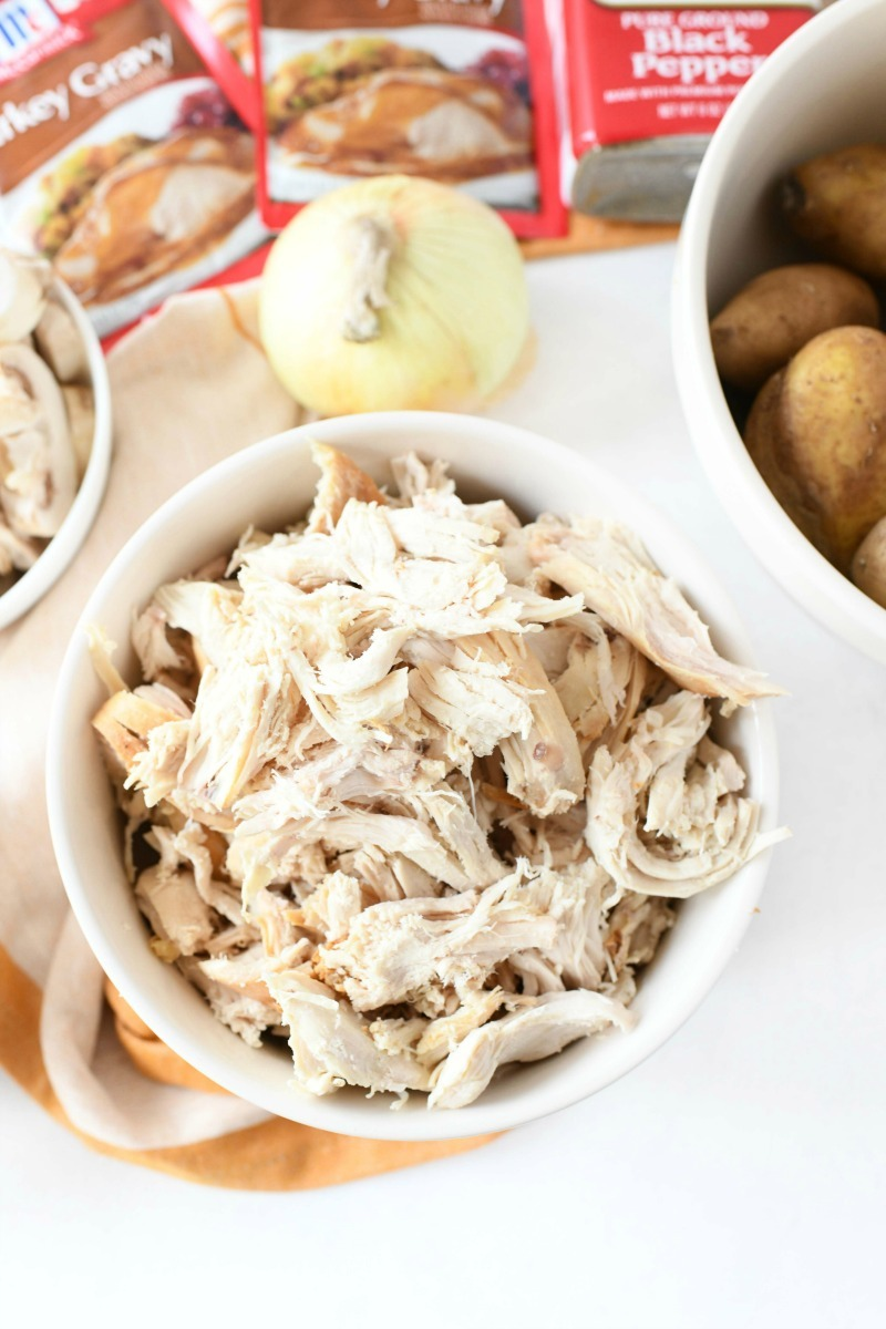Shredded white meat turkey in a bowl.