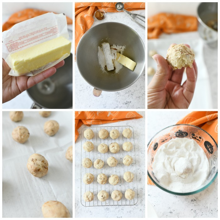 making pumpkin spice snowball cookies process shot in a grid style.