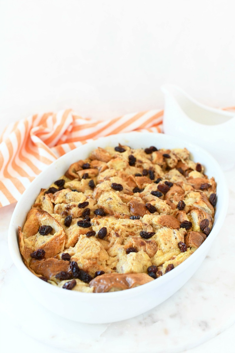 Cinnamon French Toast Bake in a white oval baker.