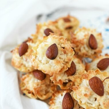Coconut Almond Macaroons on a plate.