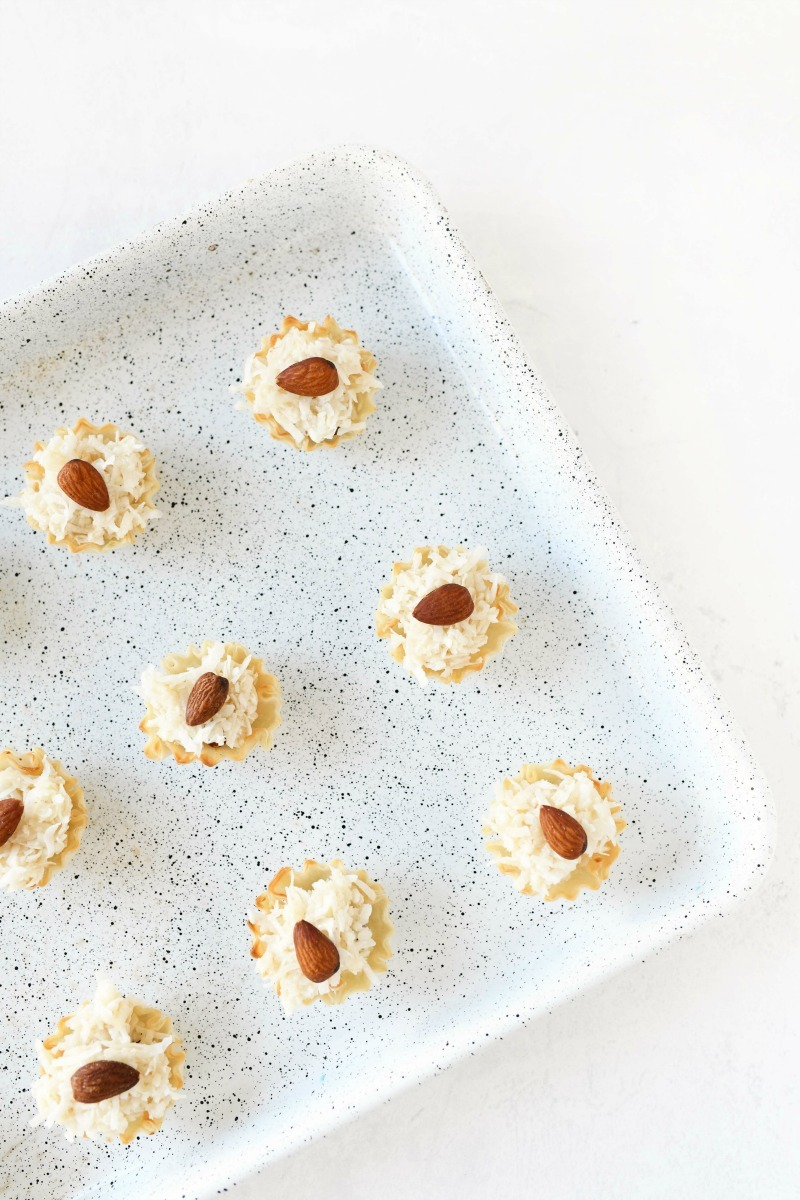 Phyllo Dough macaroons on a baking sheet.