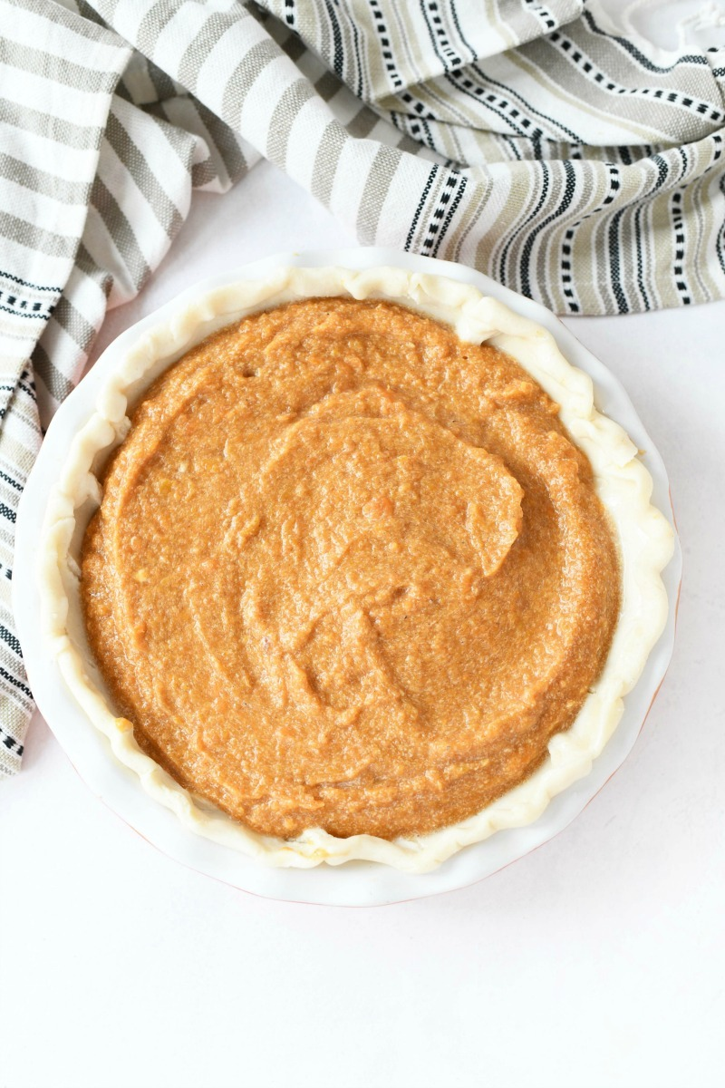 Sweet Potato Baked pie in an unbaked shell.