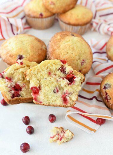 Bakery Style Orange Cranberry Muffins split in half
