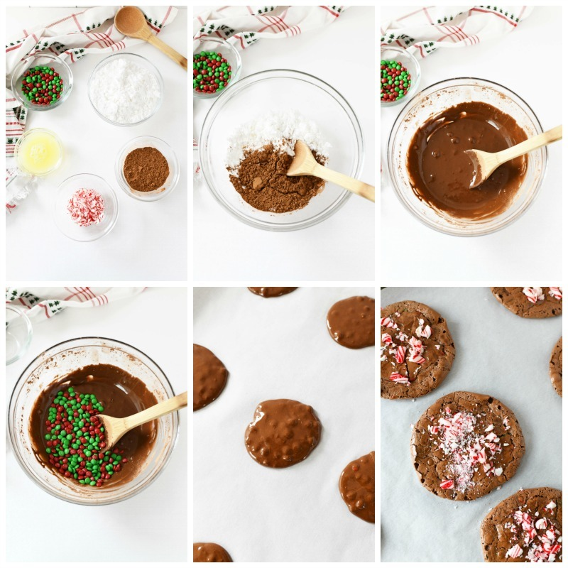 A process grid of the 6 different steps to making Flourless Chocolate Cookies.