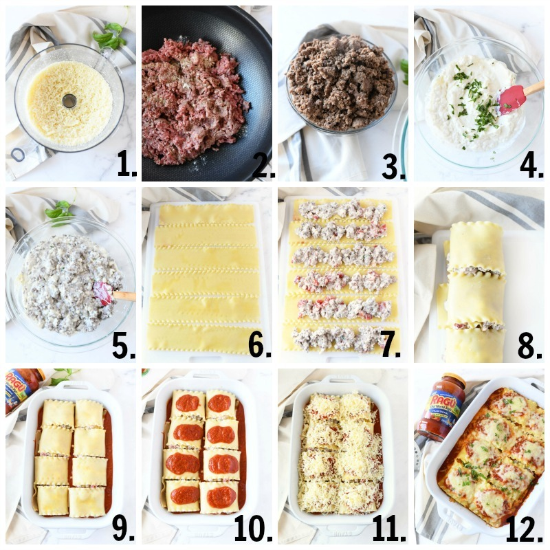 How to Make Lasagna Rolls Ups. A 12 image, numbered collage grid of the various steps involved in making this dish.
