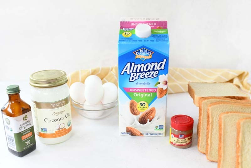 Dairy Free French Toast Recipe ingredients on a white table.