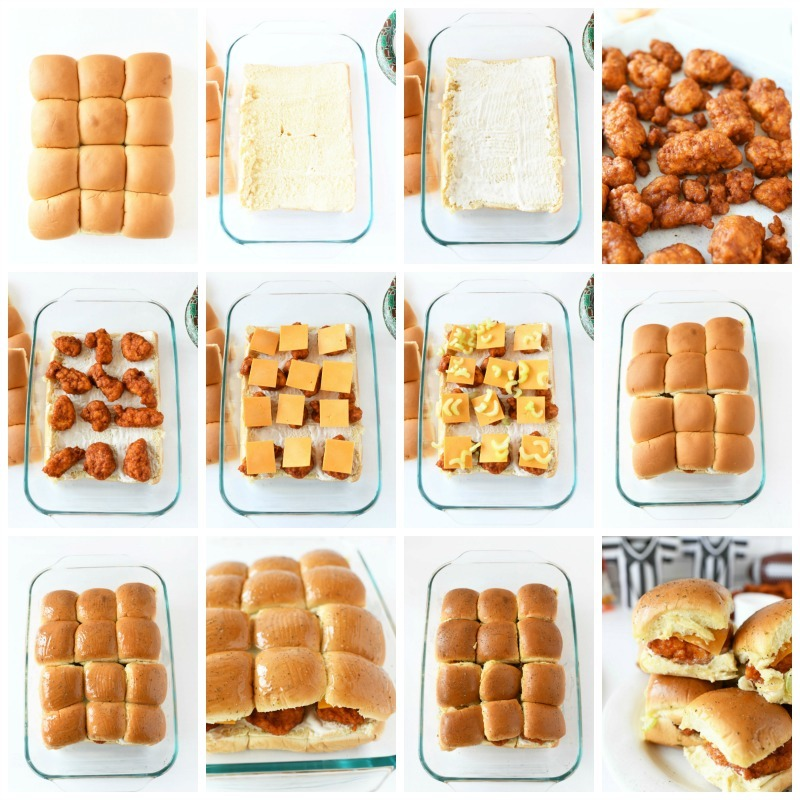 How to Make Buffalo Chicken Sliders in the oven mass batch. This is a grid style image of 12 images each outlining the steps to making these buffalo chicken sliders from start to finish. Images are all shot on a white background.