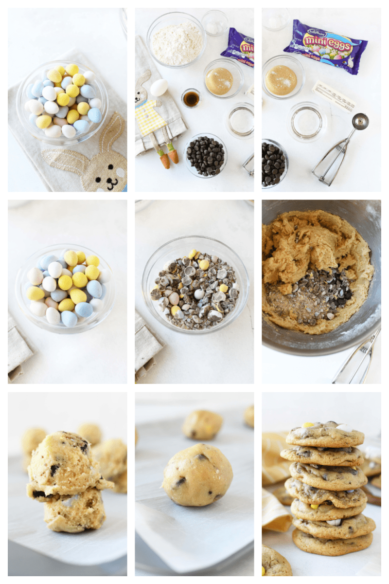 How to Make Cadbury Chocolate Chip Cookies. A visual collage grid from ingredients to finished cookies. There are 9 blocks shot on a white background that showcase the steps.