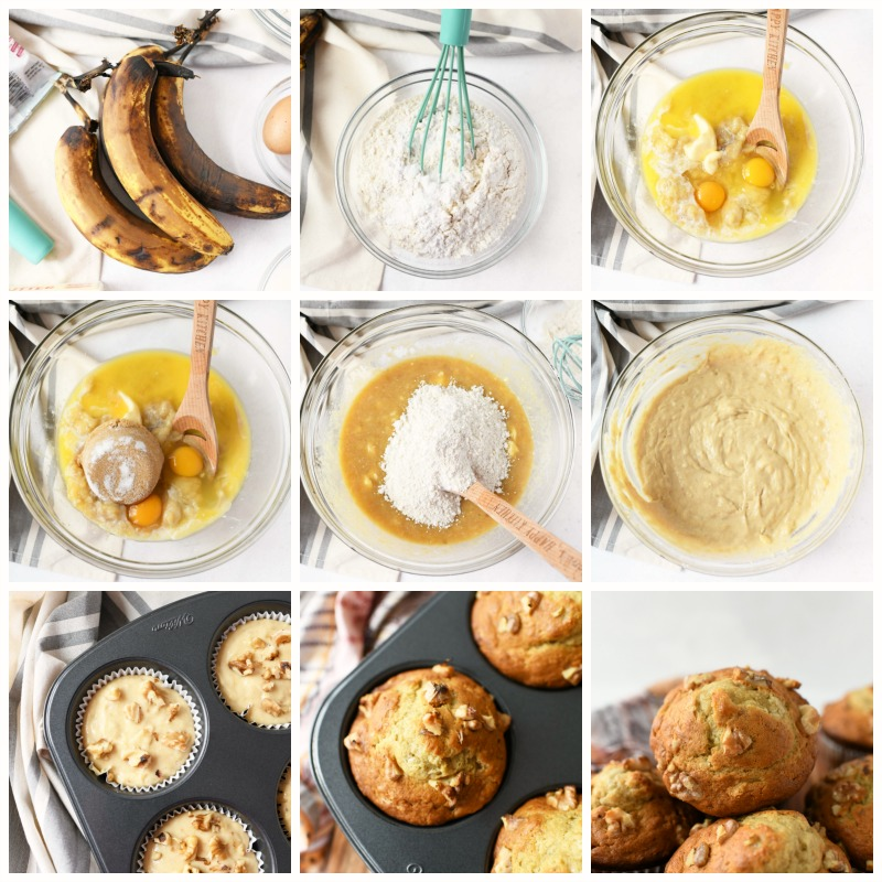 How to Make Jumbo Banana Nut Muffins. This is a visual grid of 9 square images from start to finish.