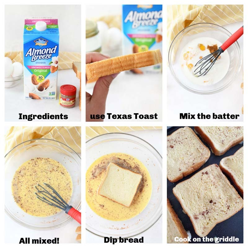 How to make dairy-free French Toast - a step by step 6 image collage of the process.