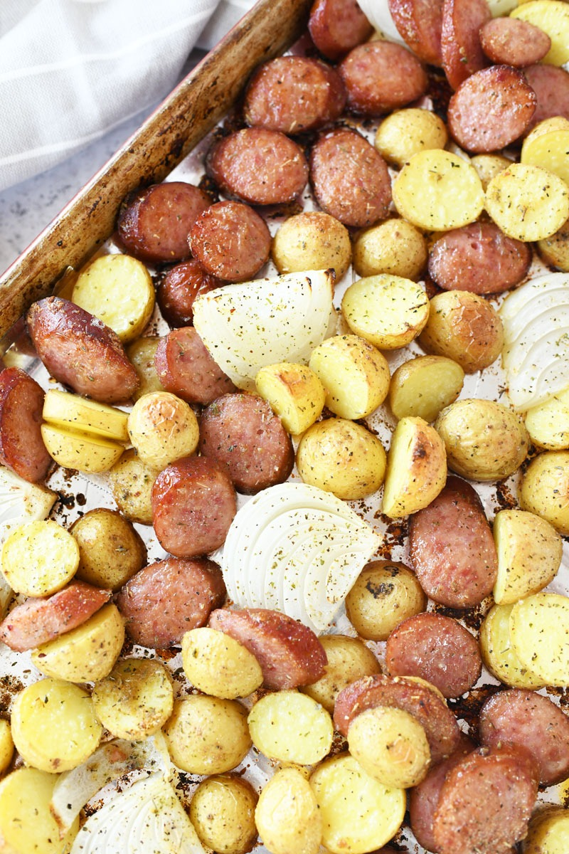 Baked Sausage and Potato Sheet Pan Meal- The ingredients are golden brown, and crisp.