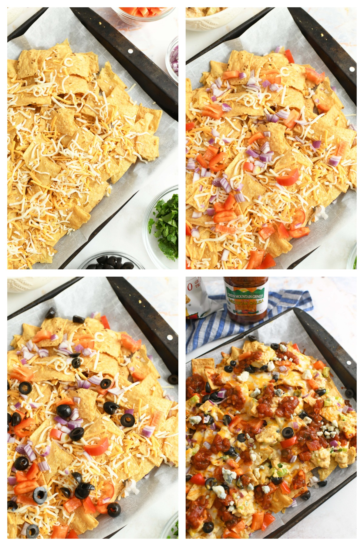How to Make Buffalo Chicken Nachos. A four image shot that showcases the process of making these nachos.