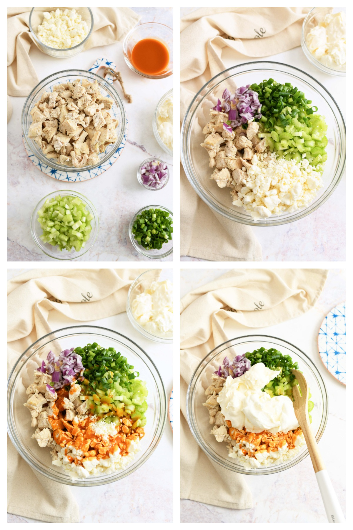How to Make Buffalo Chicken Salad. A four image collage that showcases the steps to making buffalo chicken salad.