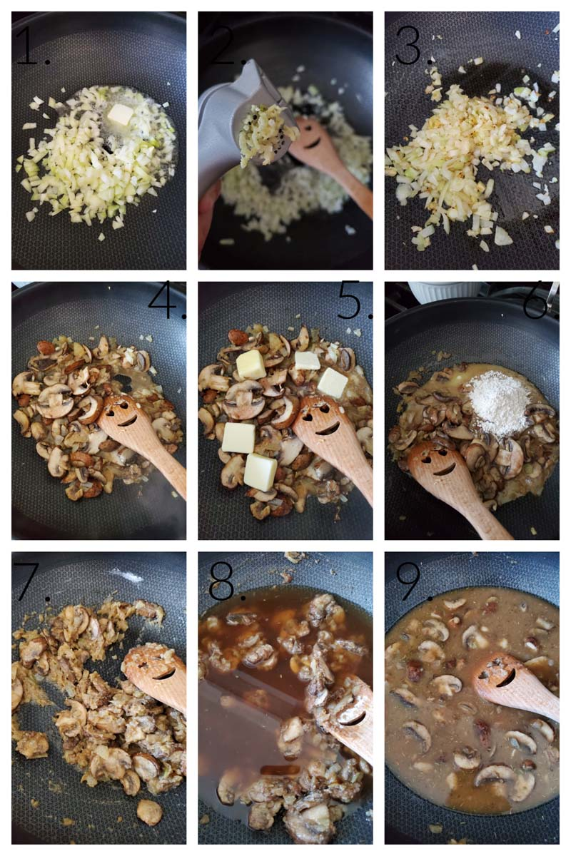 How to Make Mushroom Gravy- A nine block visual collage of the steps to make brown beef gravy.