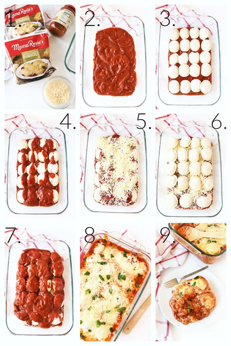 How to Make Ravioli Lasagna- A visual guide on the steps on how to make layered ravioli lasagna.
