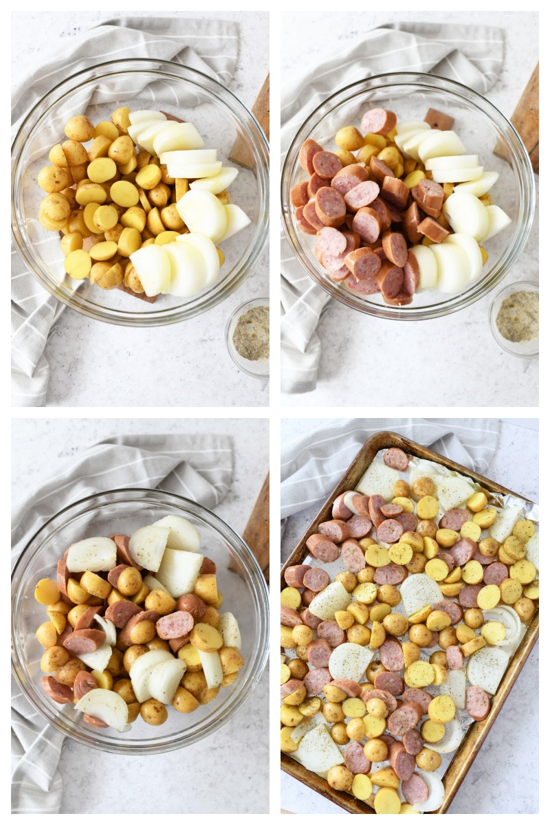 How to make sausage & potatoes sheet pan meals. A visual 4 block of the steps to make sausage and potatoes on a sheet pan.