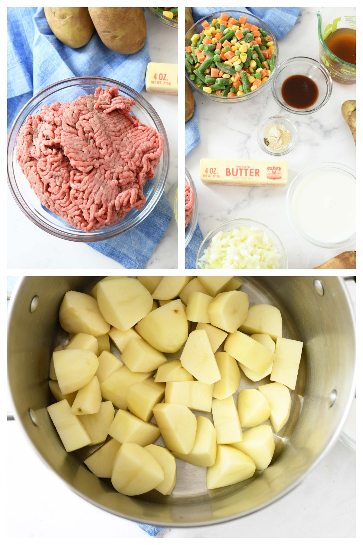 Cottage Pie Recipe steps. This is a 3 image collage showing the ingredients needed for this recipe.