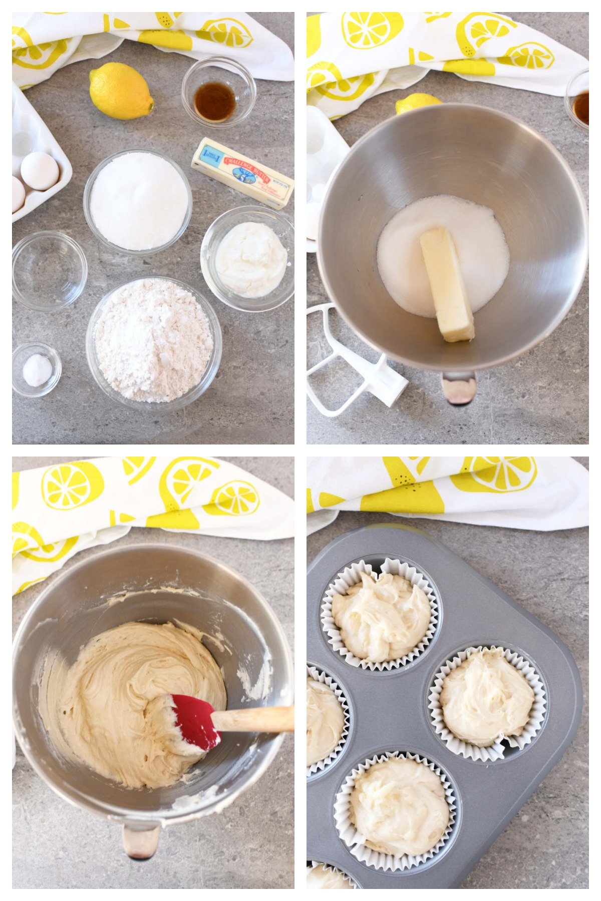 Making Iced Jumbo Lemon Muffins. A 4 image collage of lemon muffin ingredients and batter in a muffin pan.