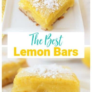 The Best Lemon Bars Recipe showcasing two lemon squares with powdered sugar.