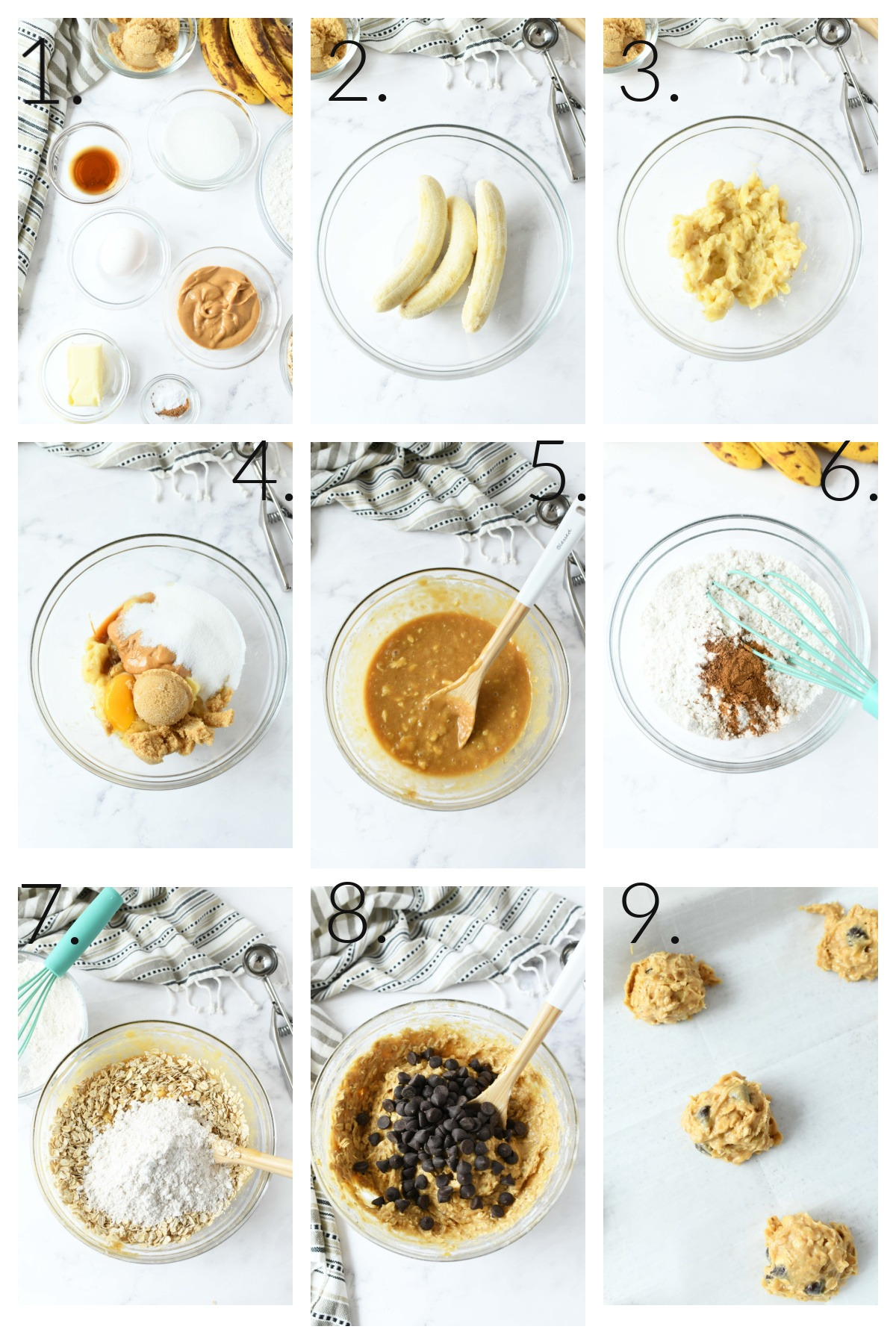 A nine image collage of the steps to make banana cookies in order of making.