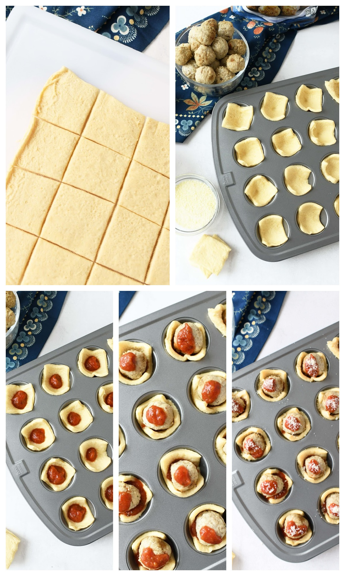 How to make meatball crescents collage of the steps needed to make these bites.
