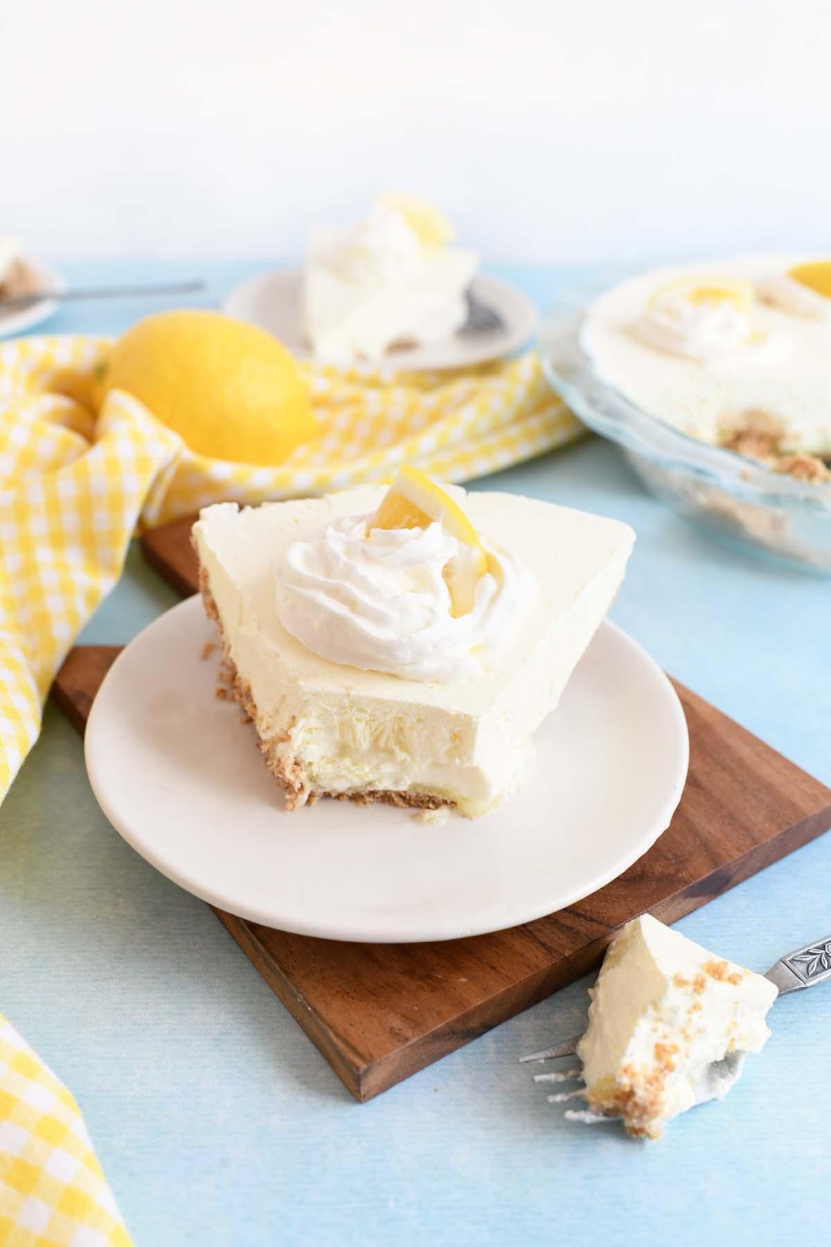 Lemonade No-Bake pie with a bite taken out.