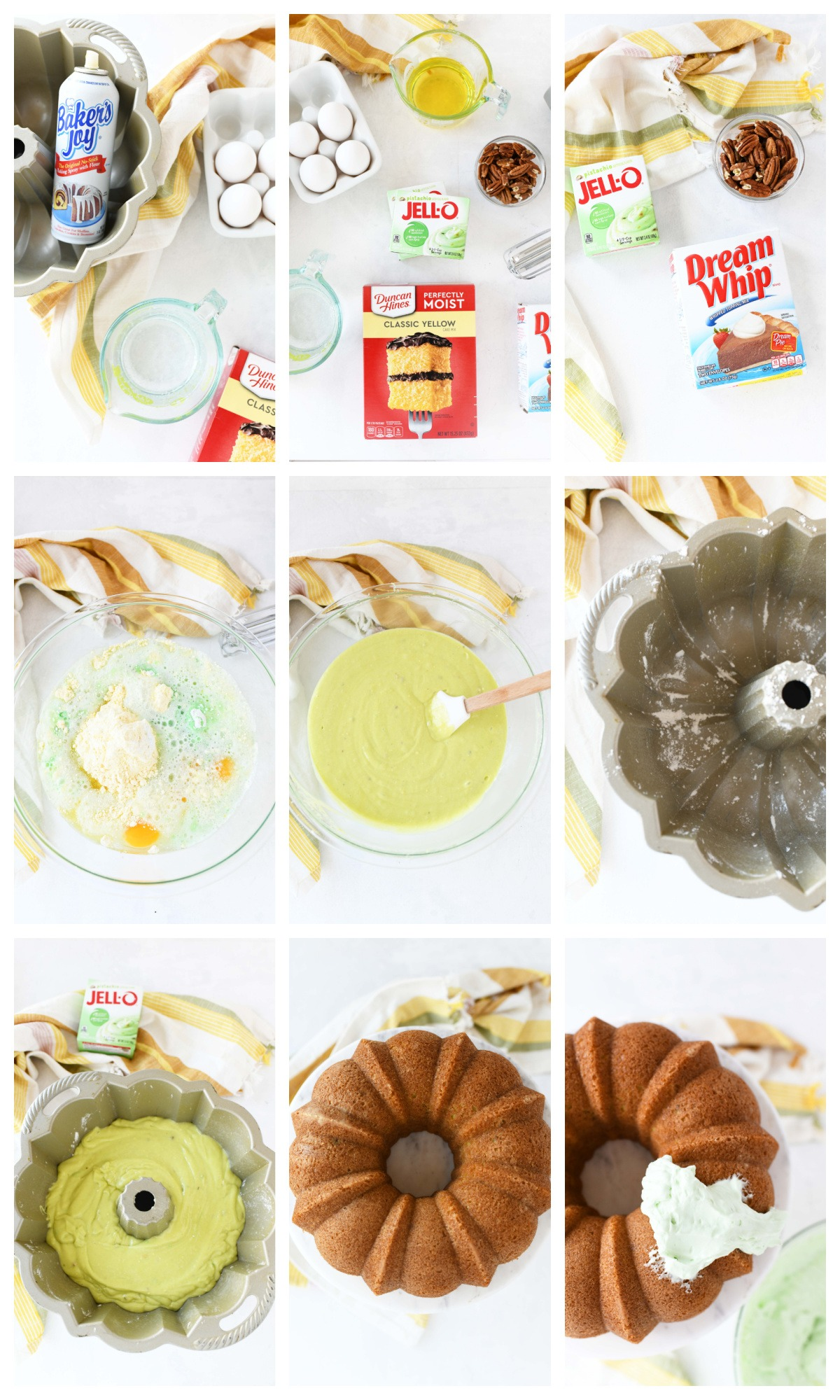 A nine image collage on how to make pistachio pudding cake.