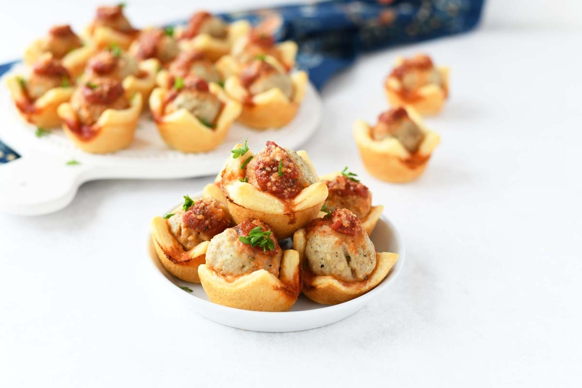 Meatball Dough Bites on a small white dish.