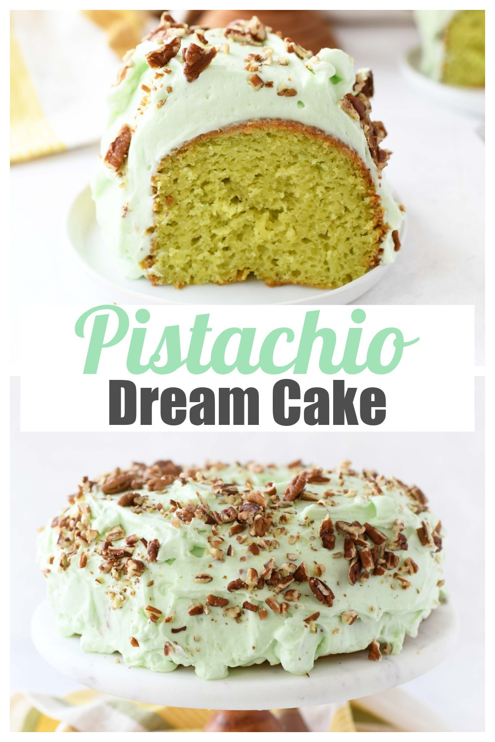 Frosted Pistachio Cake with Pudding Mix