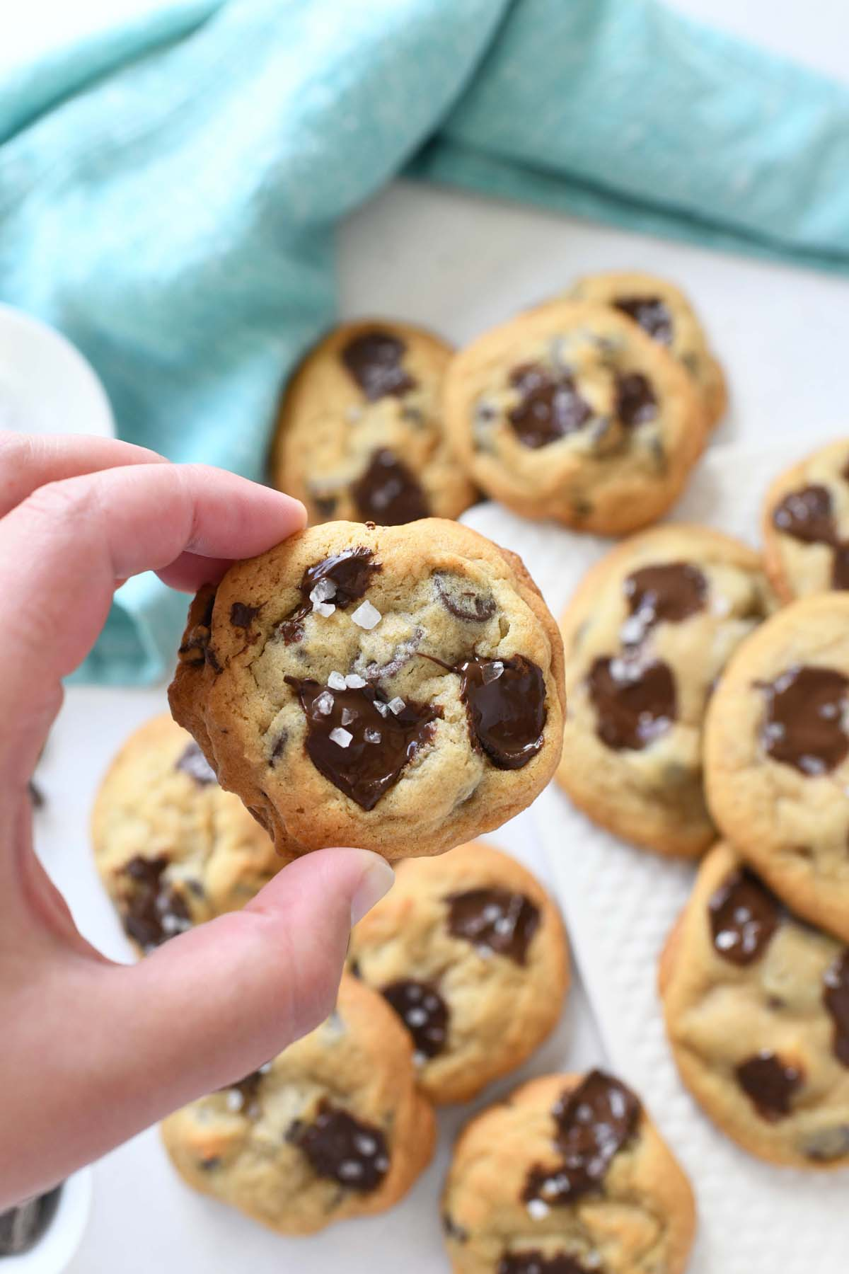 Chewy chocolate chip cookies in a hand.