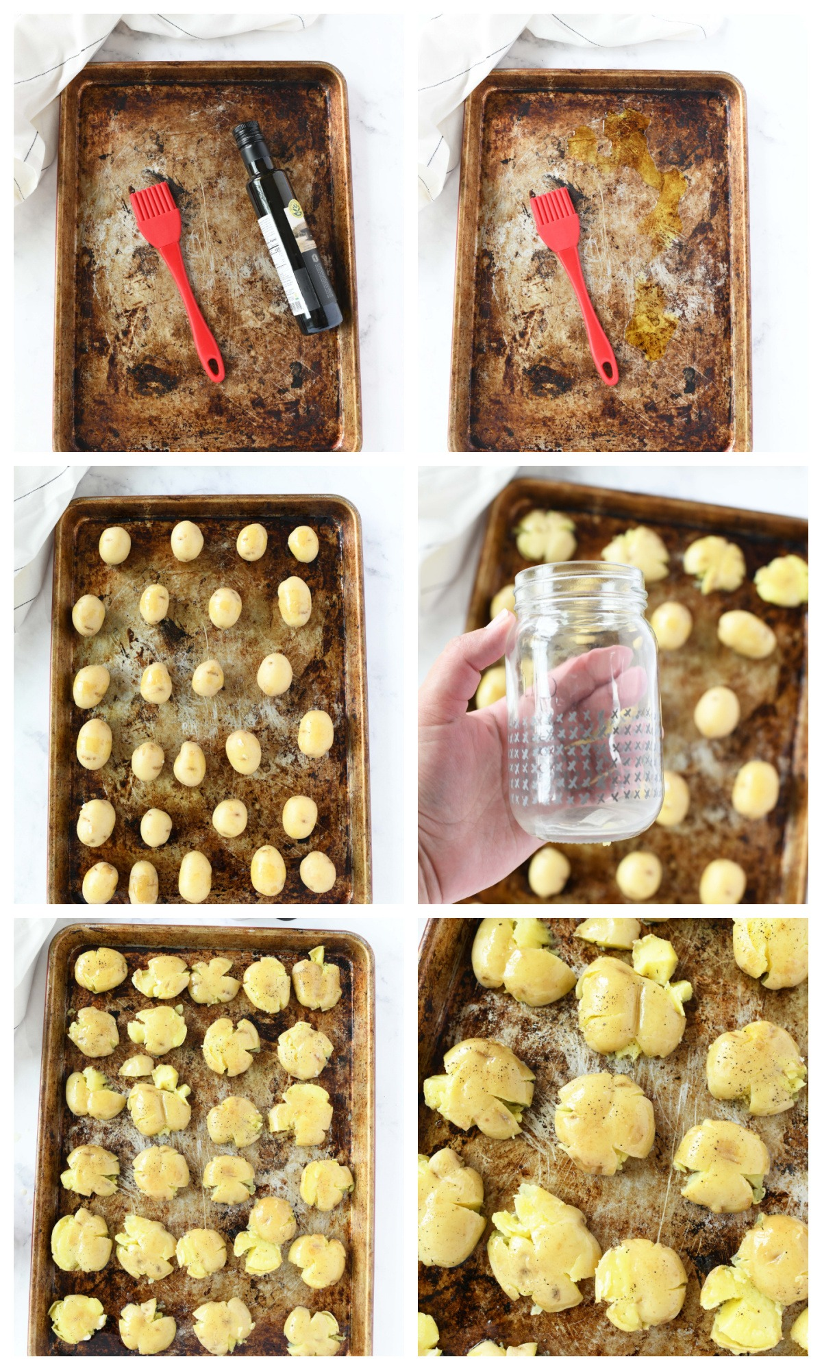 Smashed Baby Potatoes in a four image collage of the baking steps.