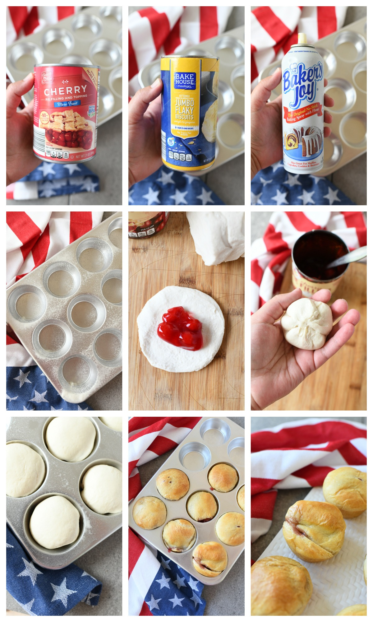 A nine image collage of the steps to make these mini cherry pie bombs.