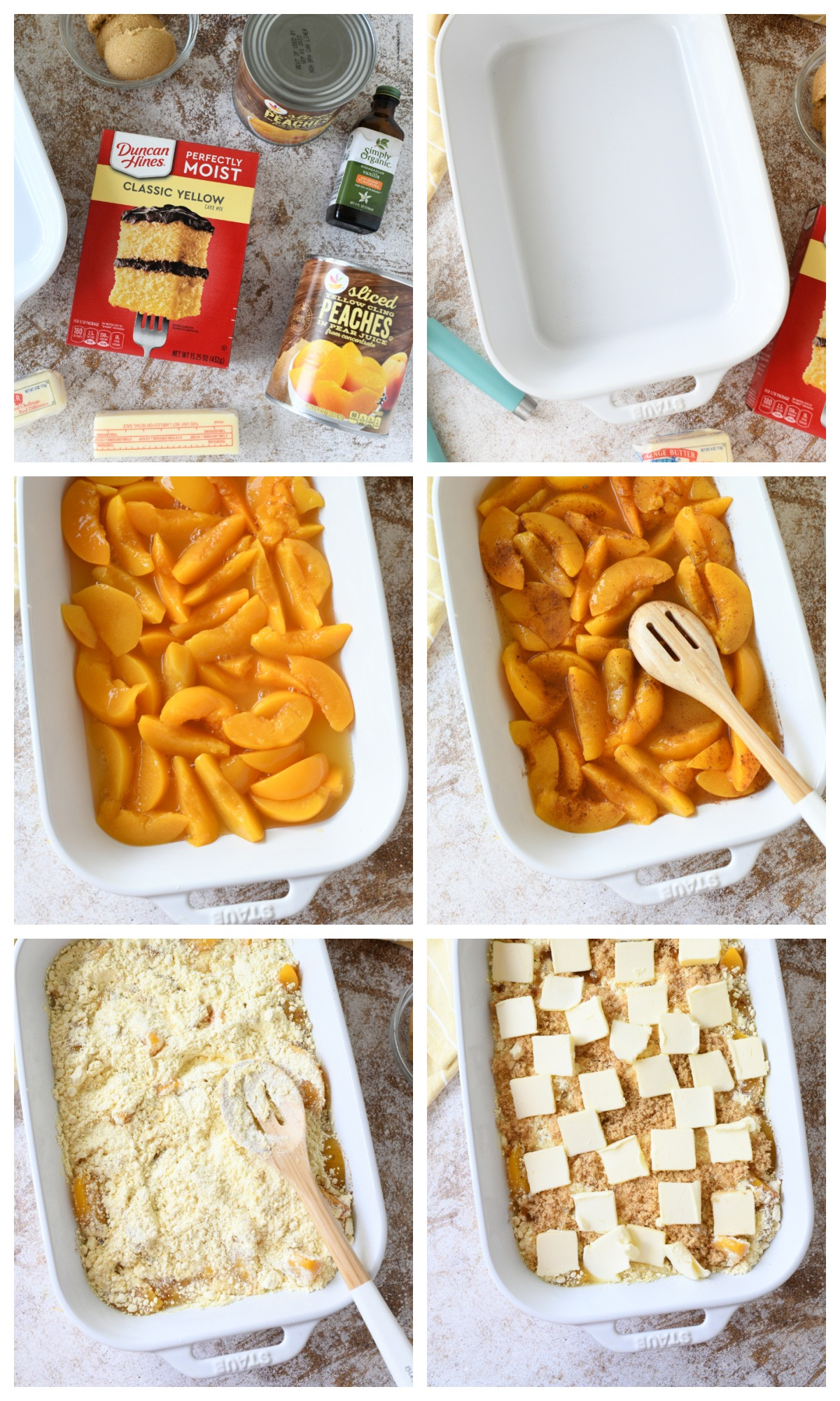 A 6 image collage fo the steps to make peach dump cake.