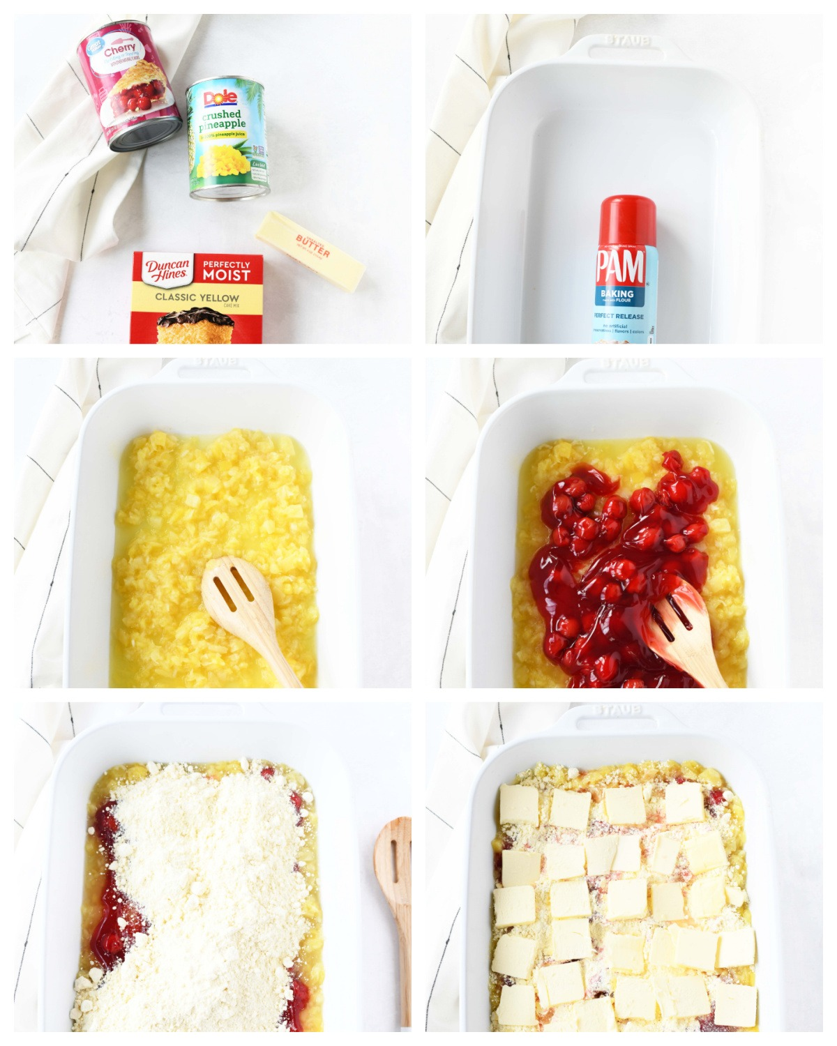 A 6 image collage on how to make cherry pineapple dump cake.