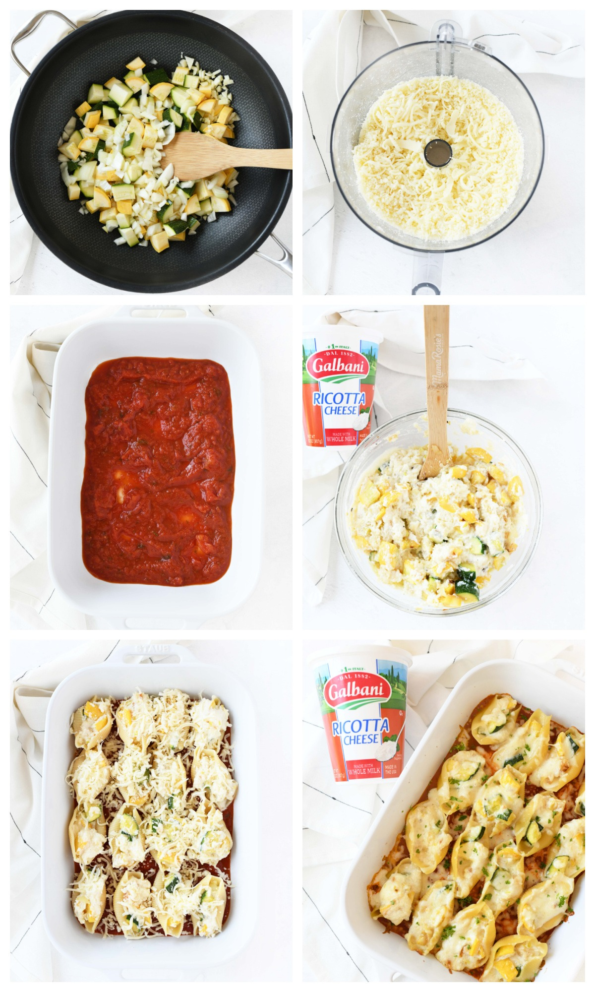 A 6 image collage of the steps on how to make summer squash stuffed shells.