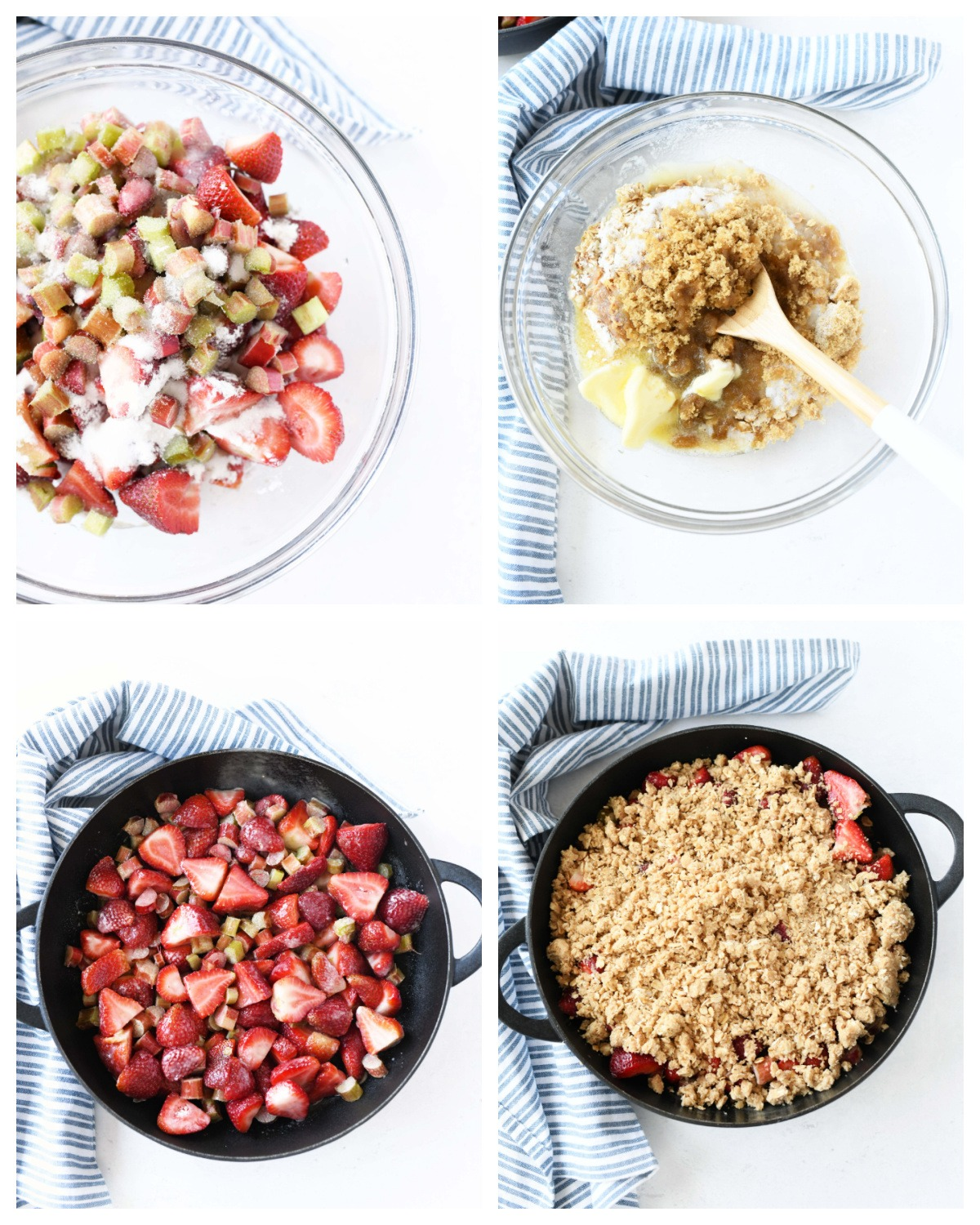 A four image collage showcasing how to make strawberry rhubarb crisp.