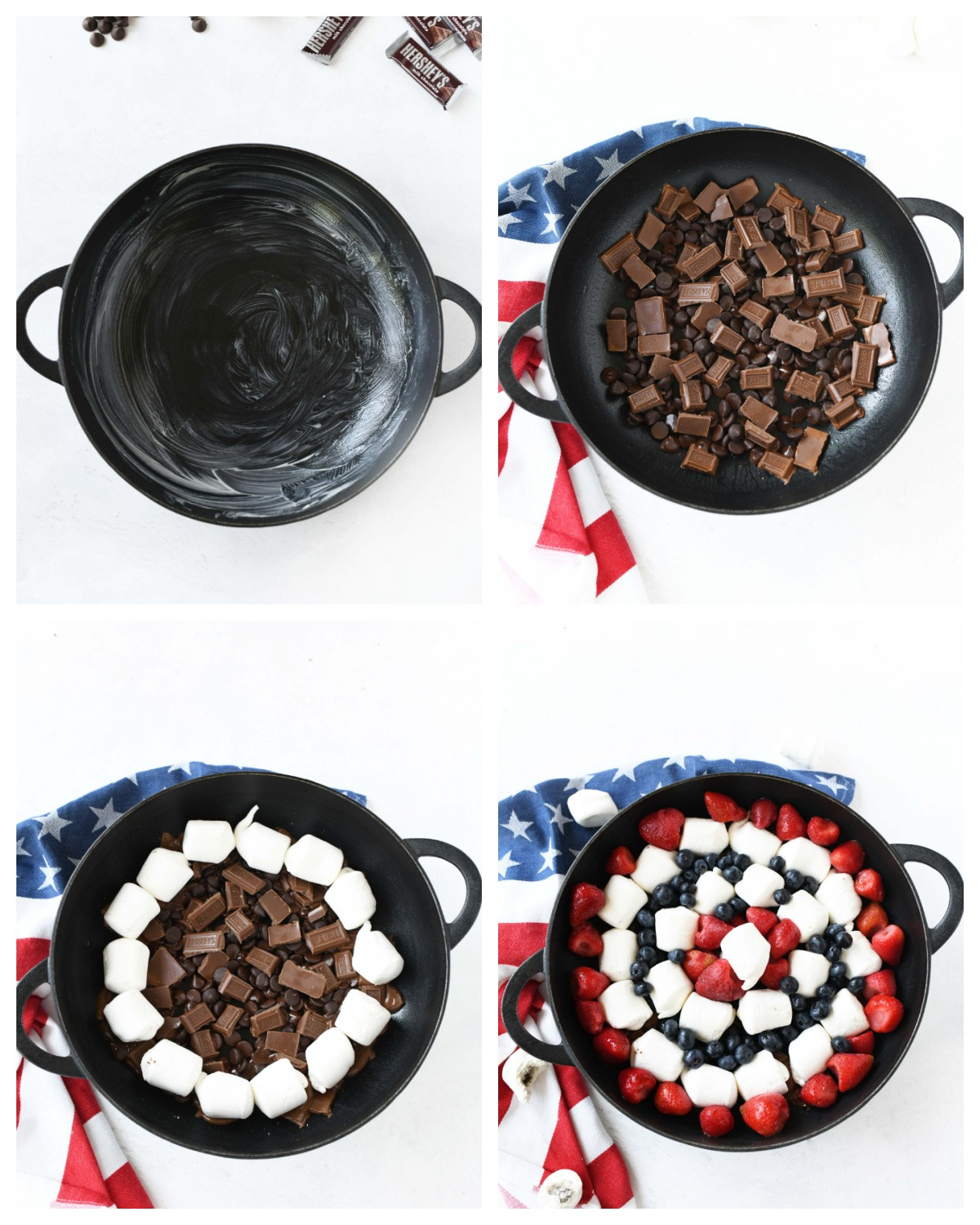 A four image collage of how to assemble berry smores.