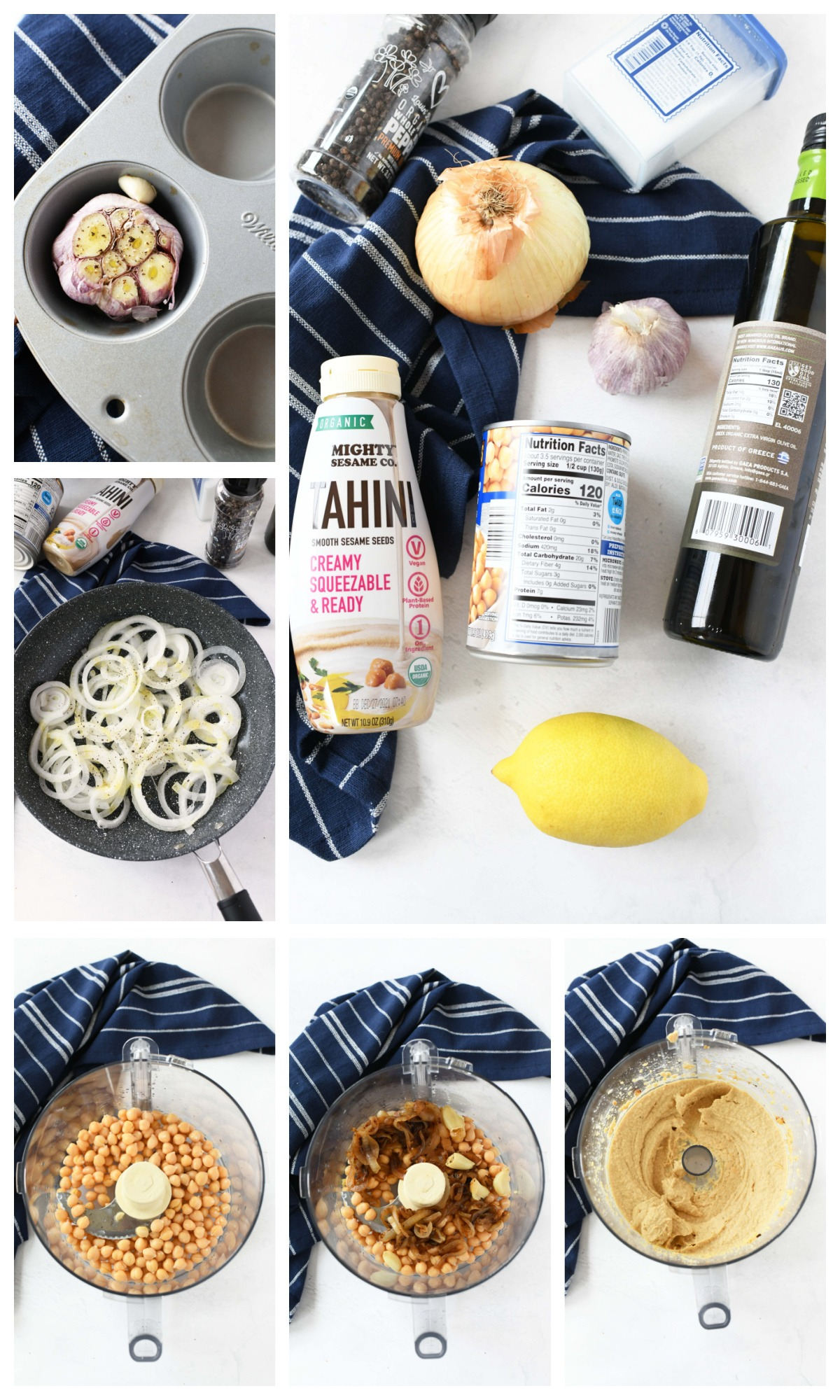 A 6 block collage showing how to make Caramelized Onion Hummus