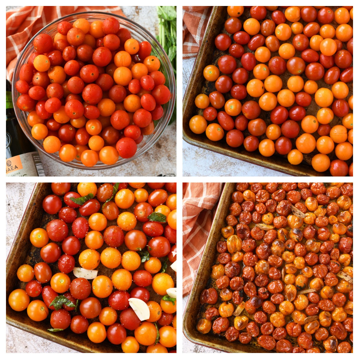 A collage showing how to oven roast tomatoes.