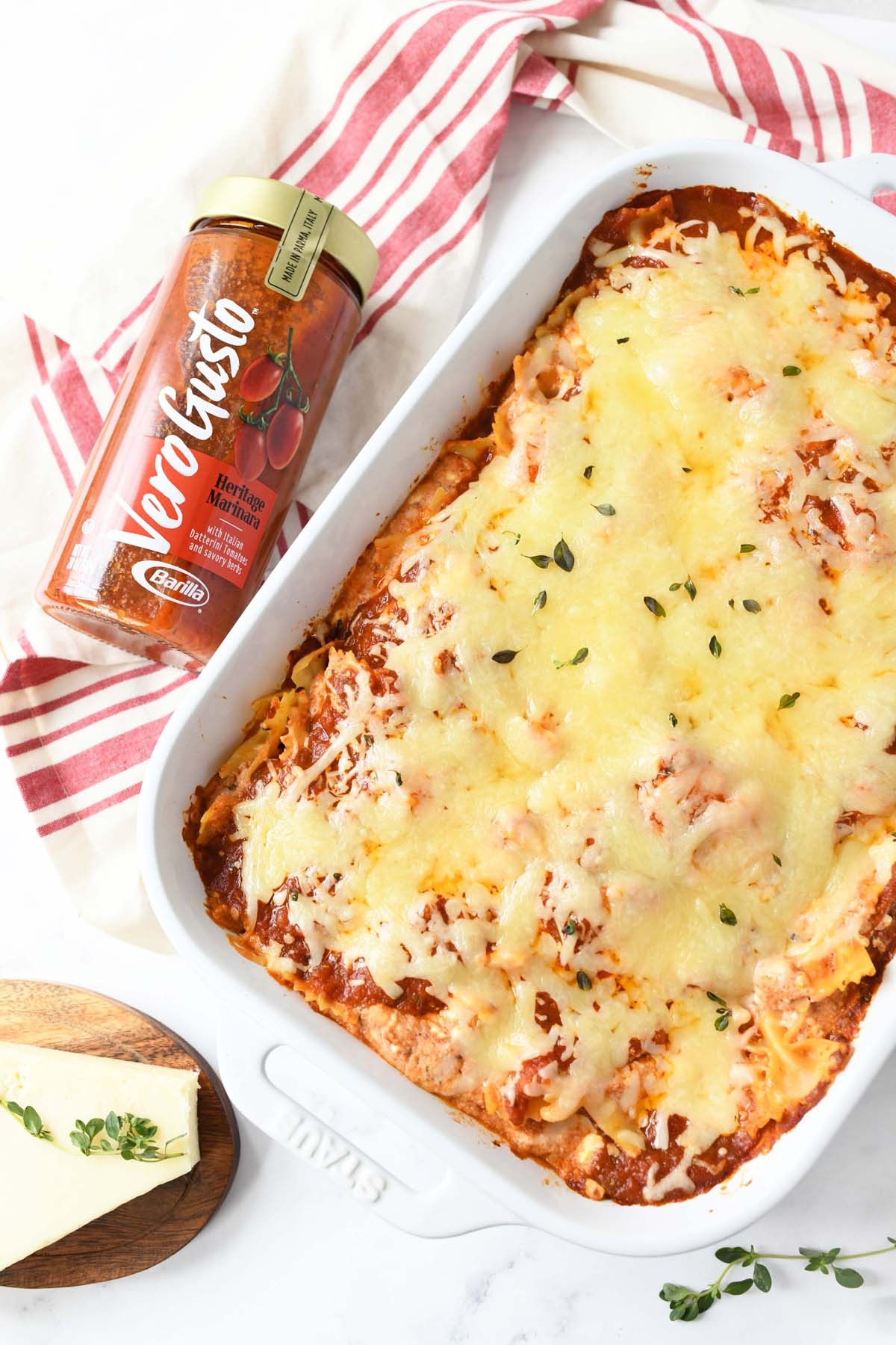 Four Cheese Pasta Bake in a white rectangle baker.