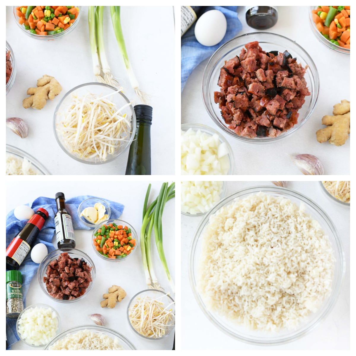 Fried Rice Ingredients in a 4 image collage.