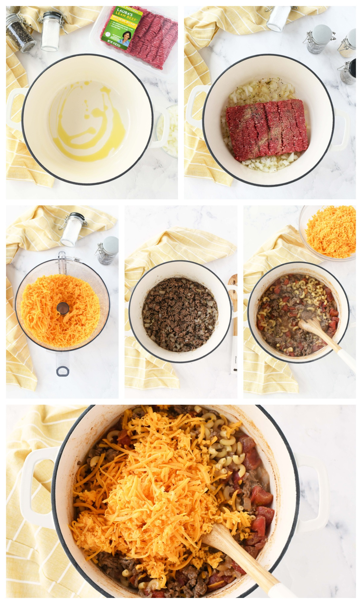 A 6 image collage showing how to make Cheesy Beef Pasta