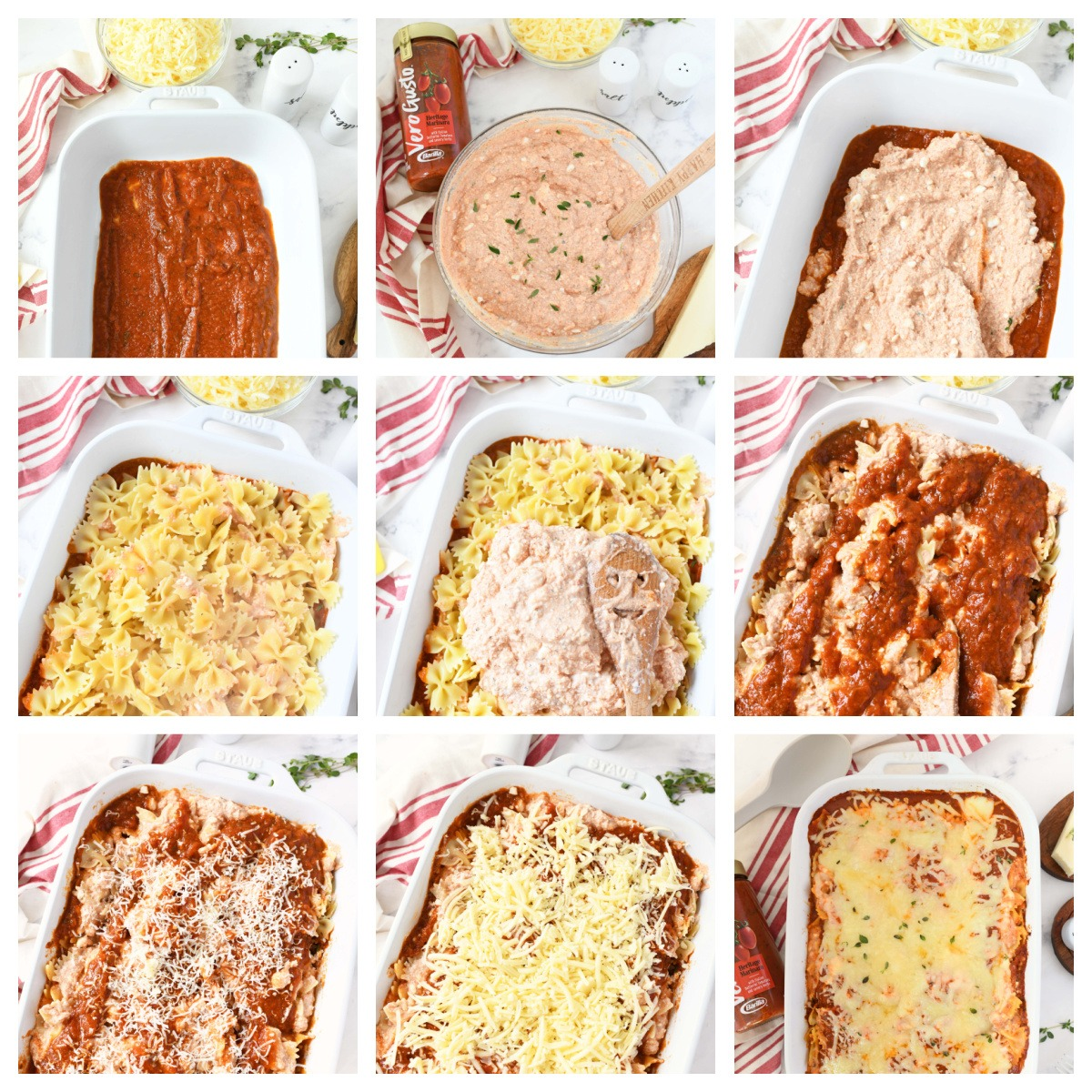 A nine image collage showing how to make four cheese pasta bake.