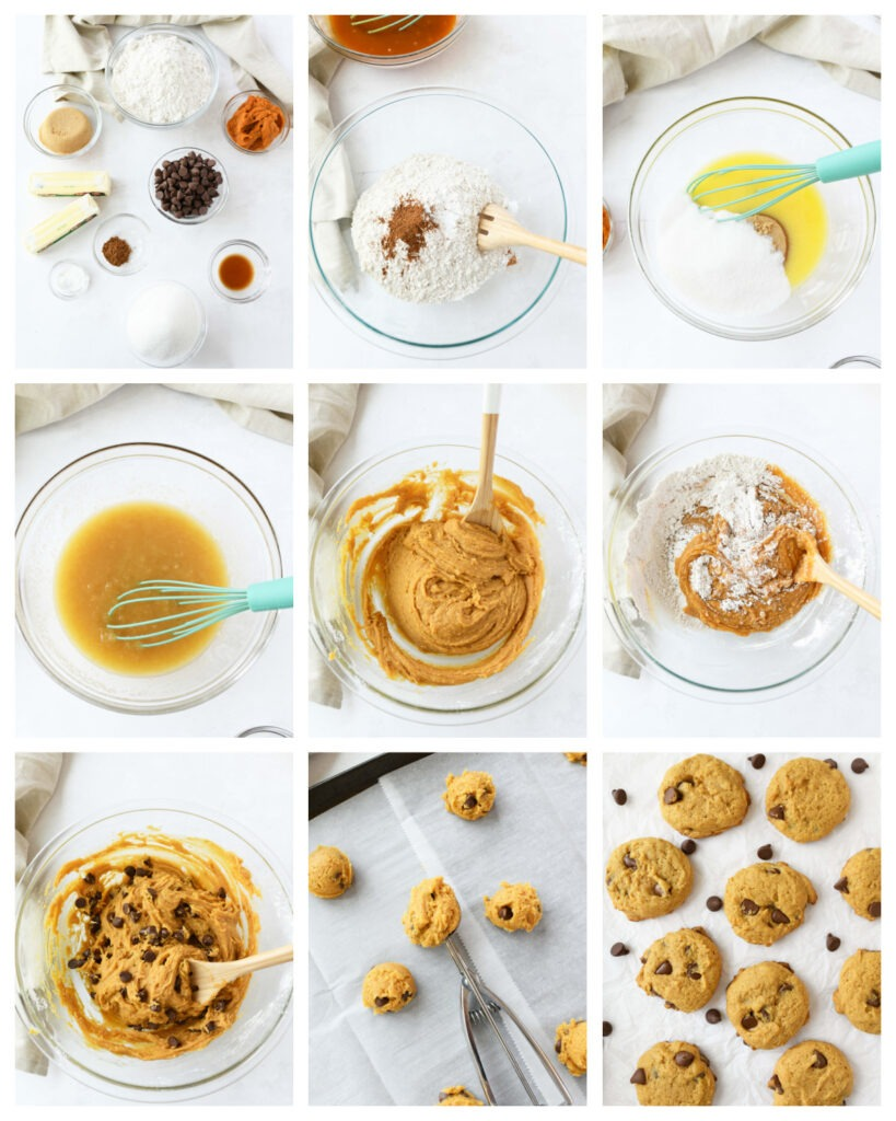 A nine block collage of how to Make chewy Pumpkin Cookies