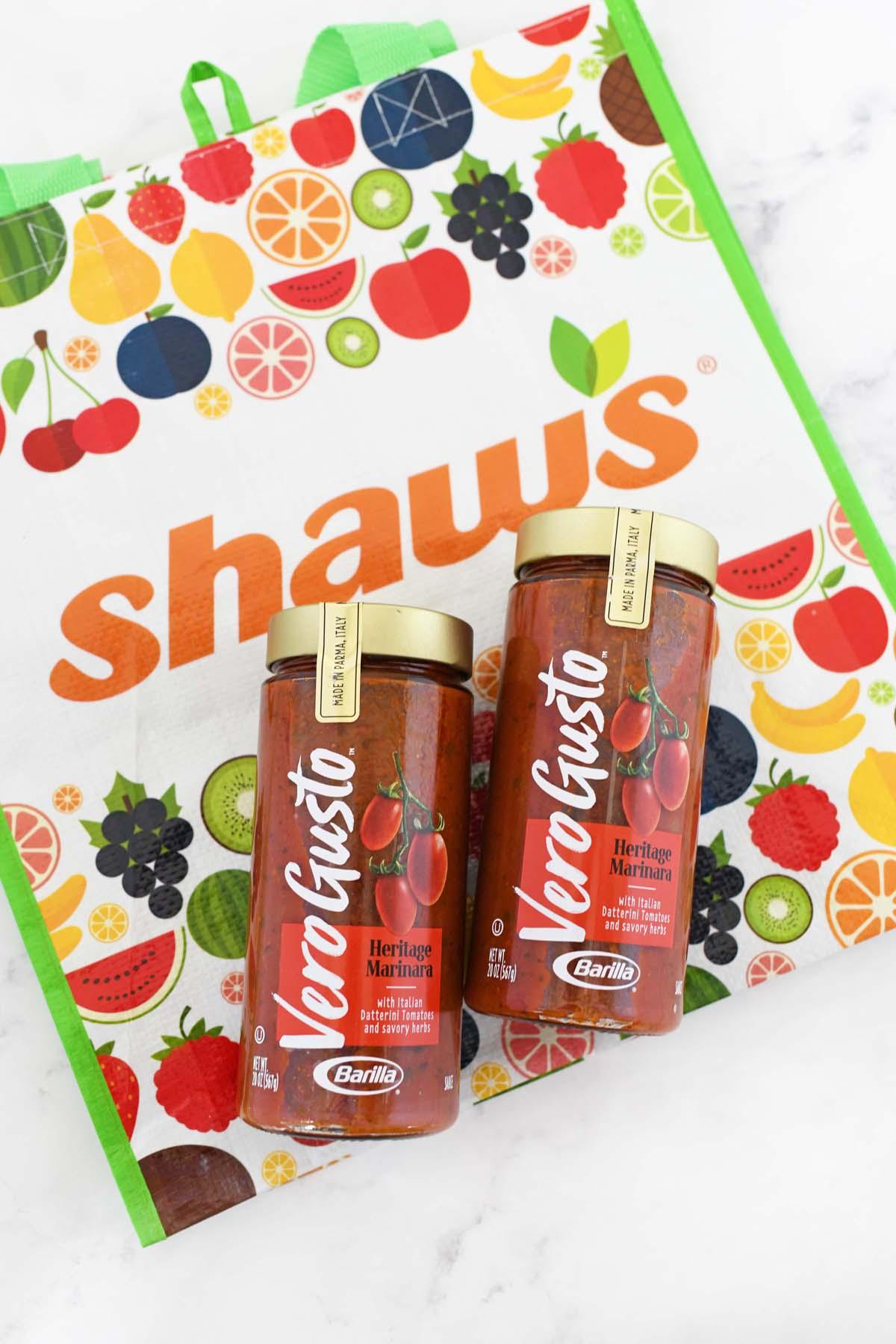 Vero Gusto Marinara Sauce on a colorful Shaw's bag.